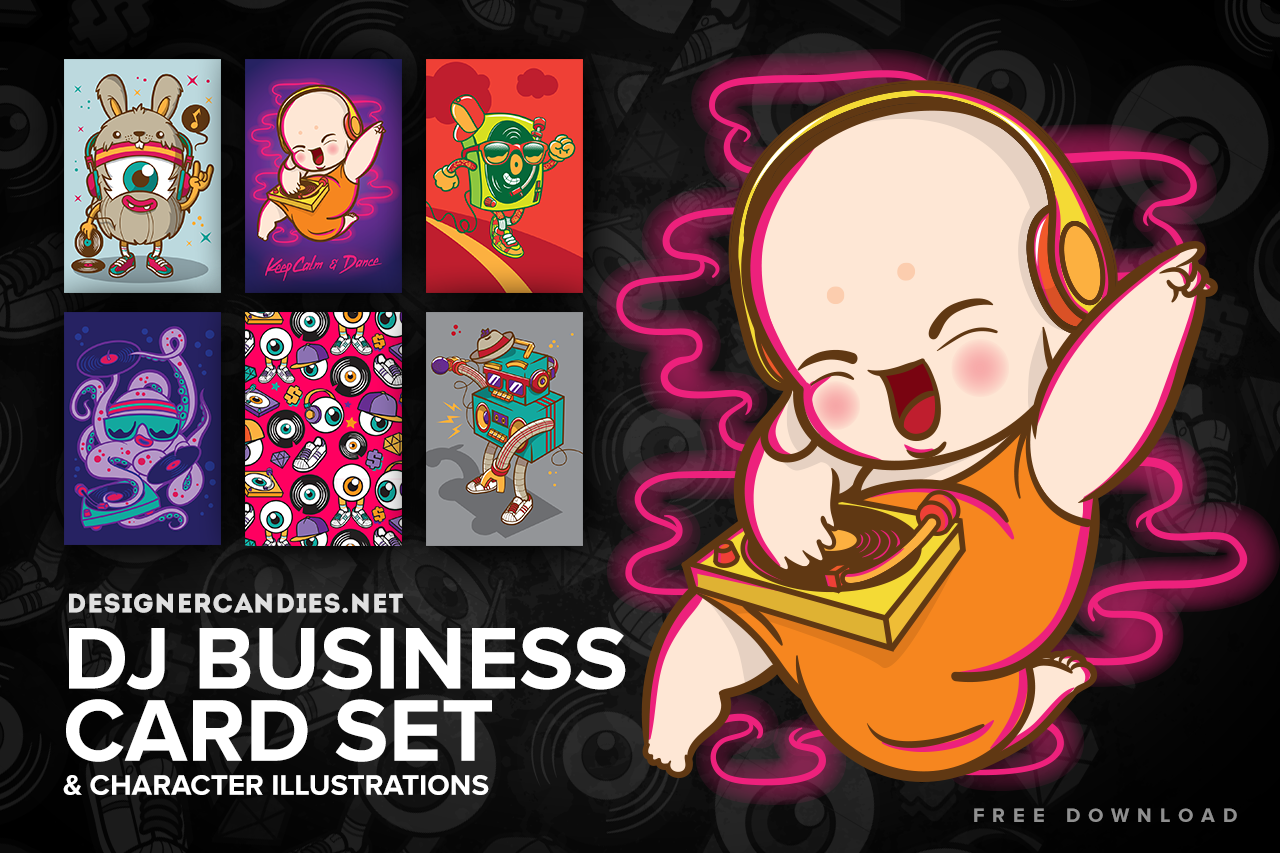 Character Design Business Card : Free dj characters business card set designercandies