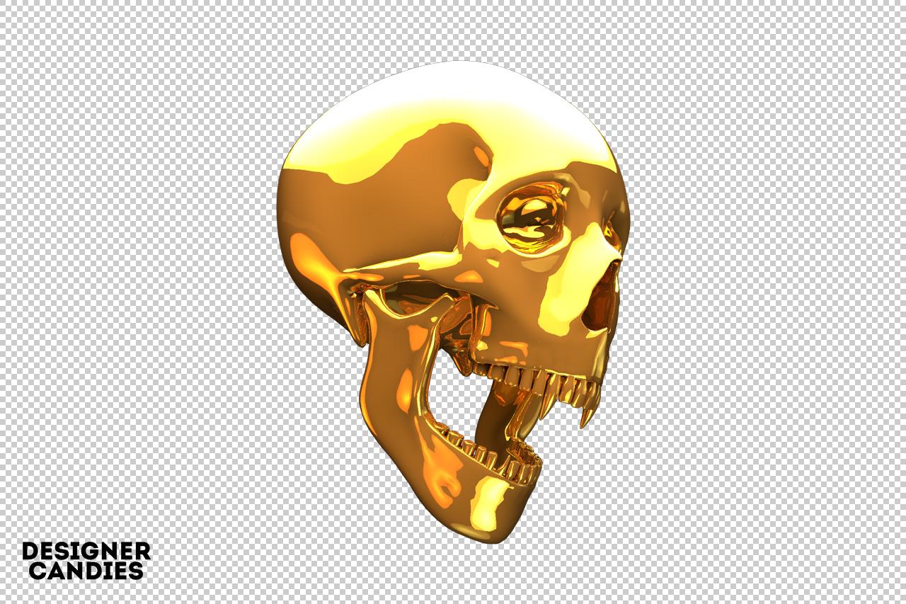 Free Gold Skull Render