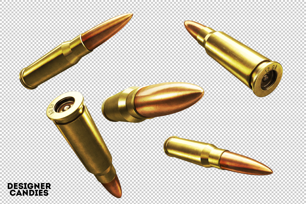 Isolated 3D Bullet Renders