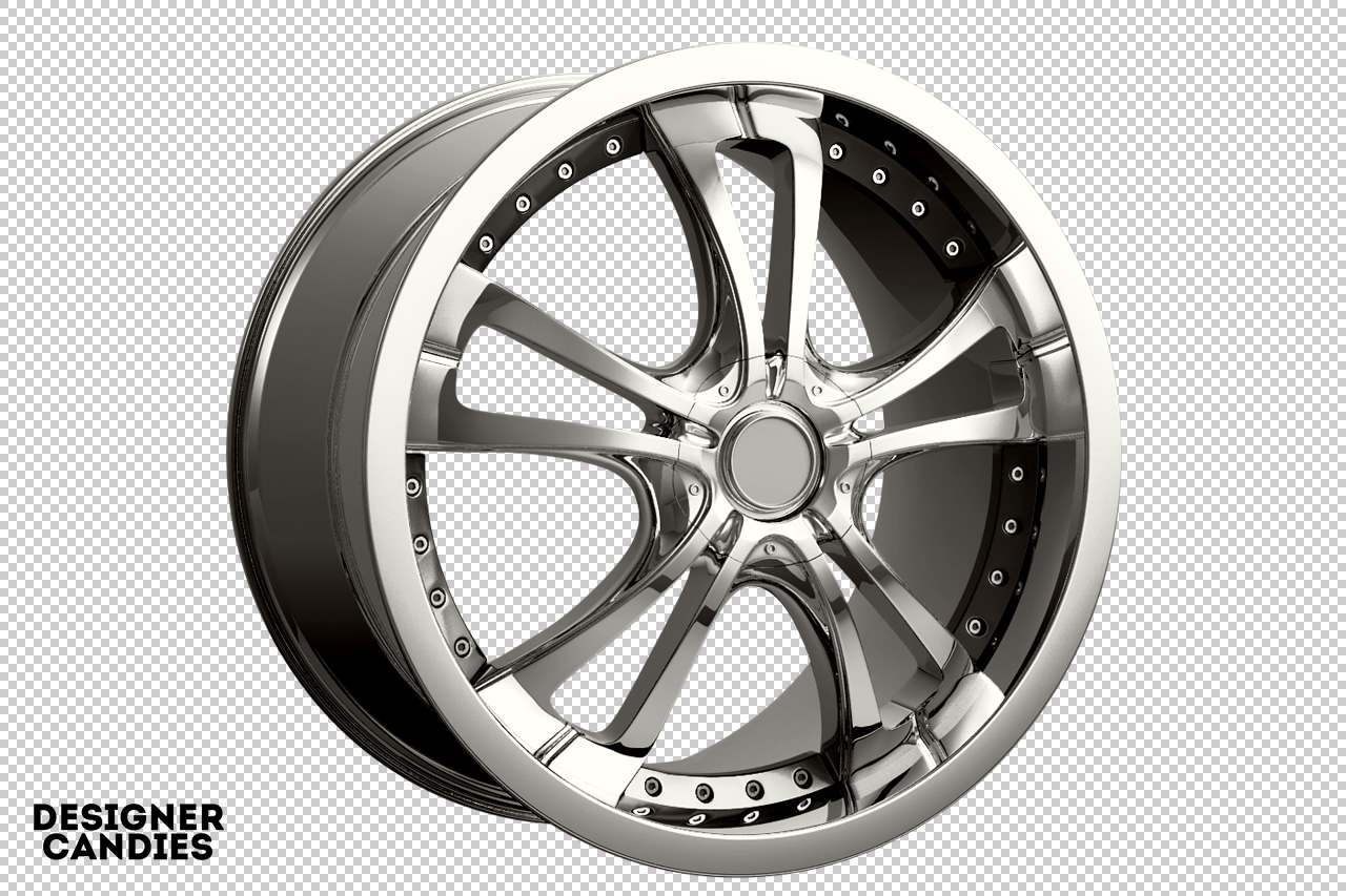 3D Chrome Rim Render Png