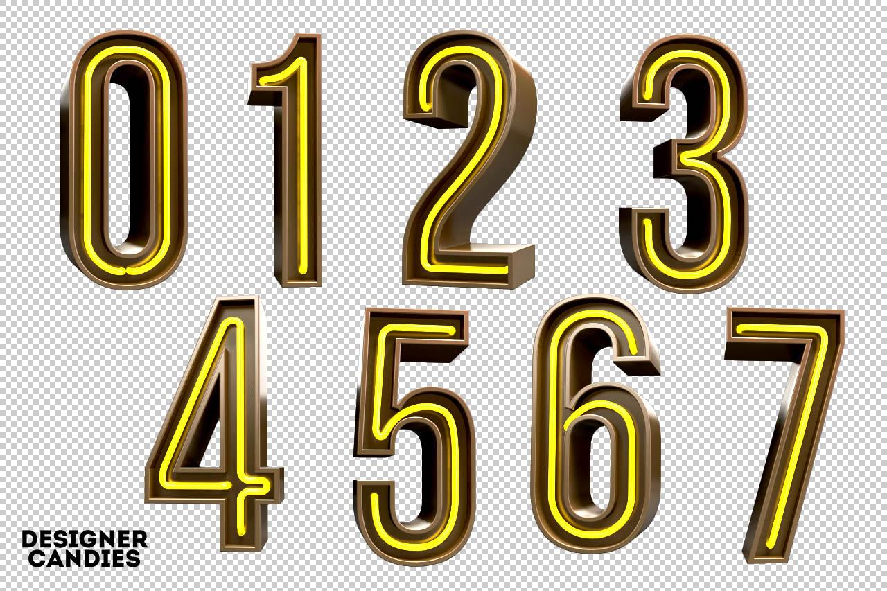 3D Neon Numbers