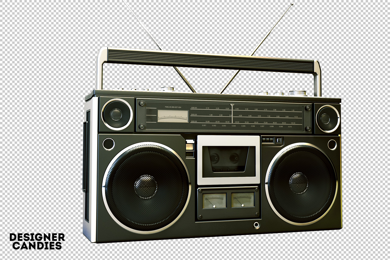 Old School Boombox Render angle 2