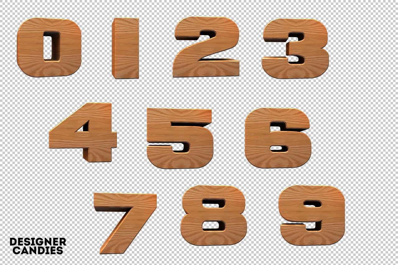 3D Wooden Numbers