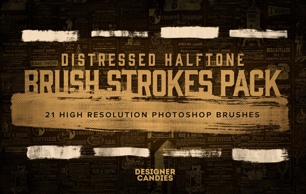 Distressed halftone Brush Strokes