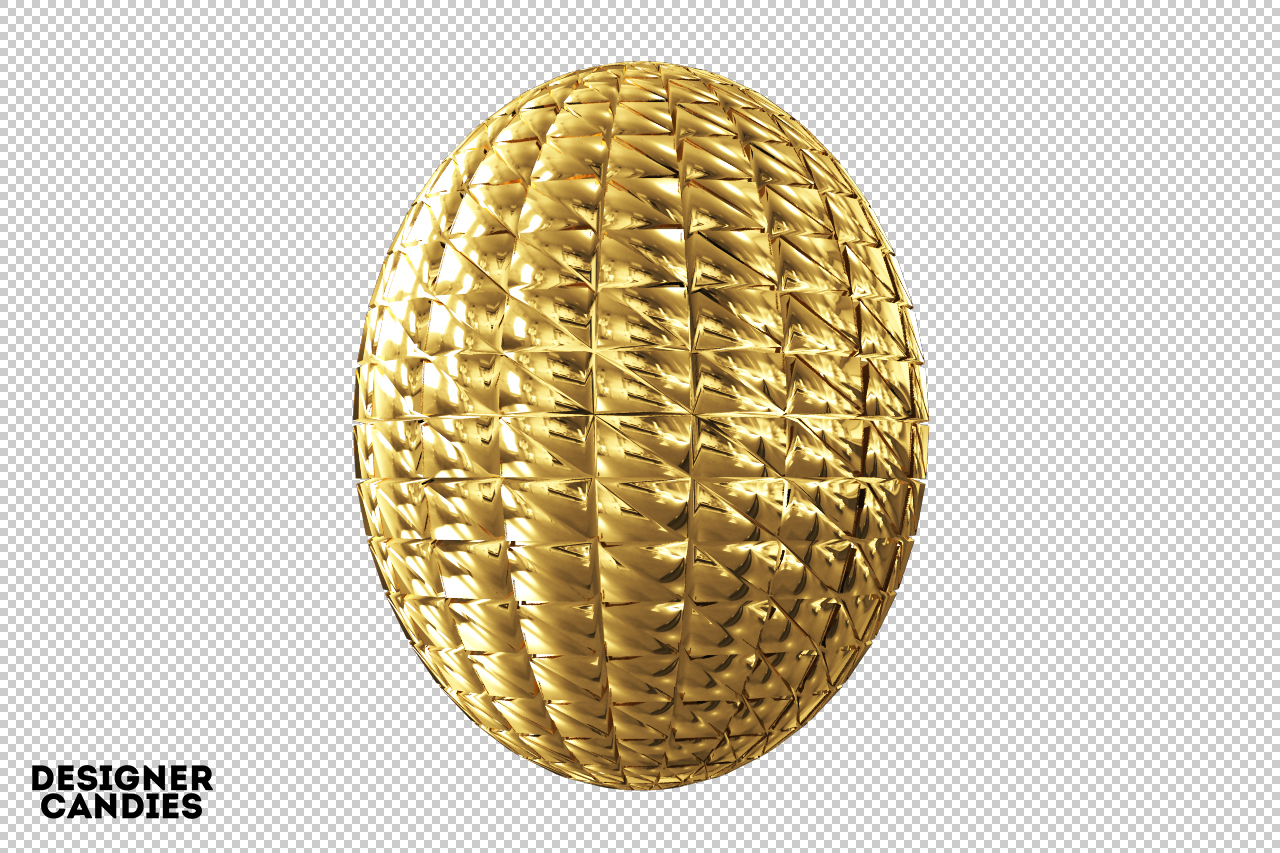3D Gold Object Render