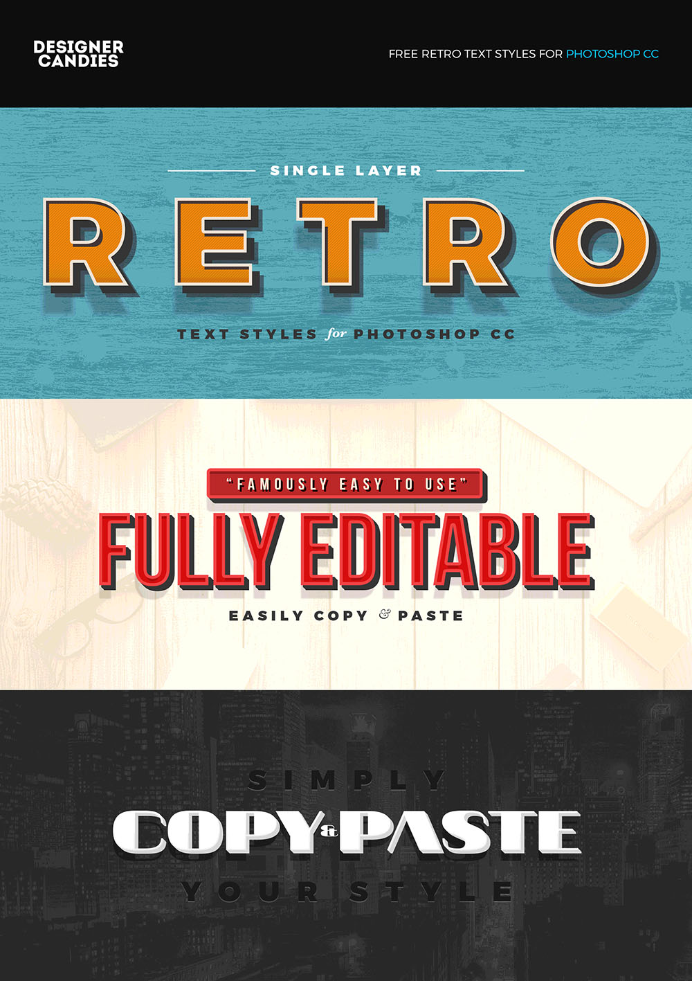 Free Retro Text Styles forPhotoshop CC