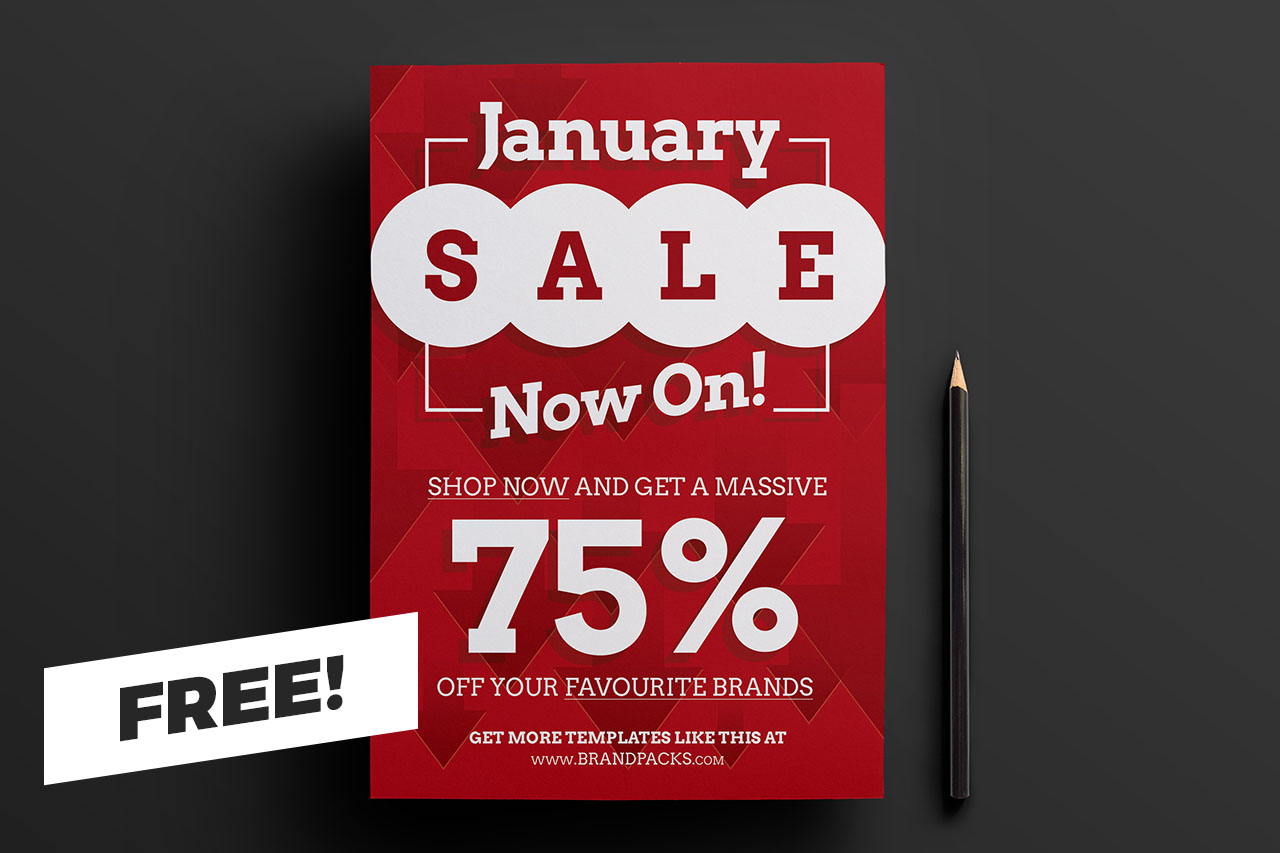Free January Sale Poster Template for Photoshop & Illustrator