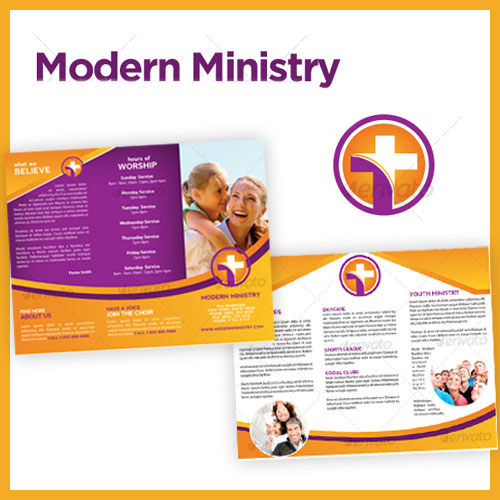 Modern Ministry Trifold Brochure Template