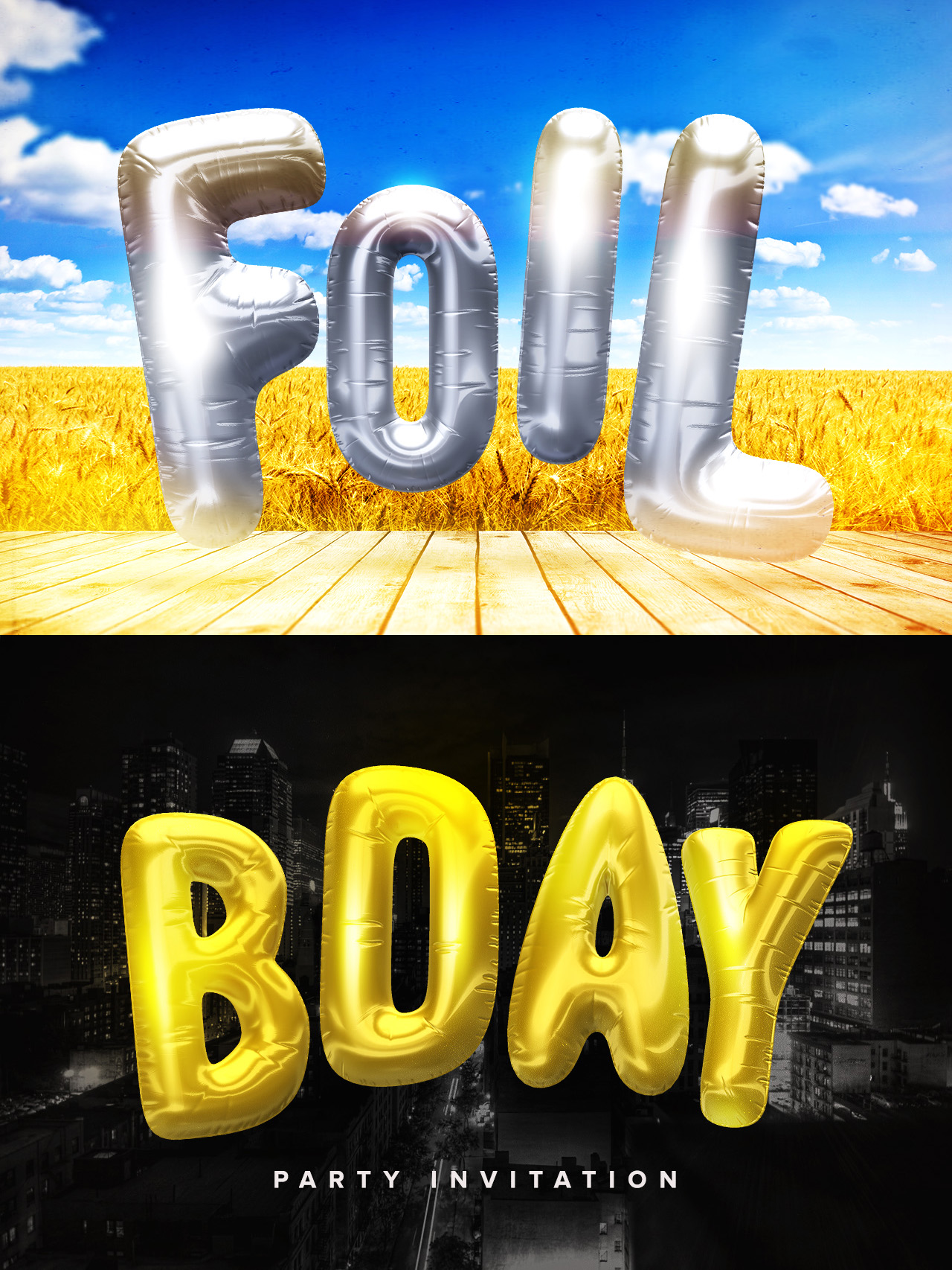 3D Foil Lettering Pack Example
