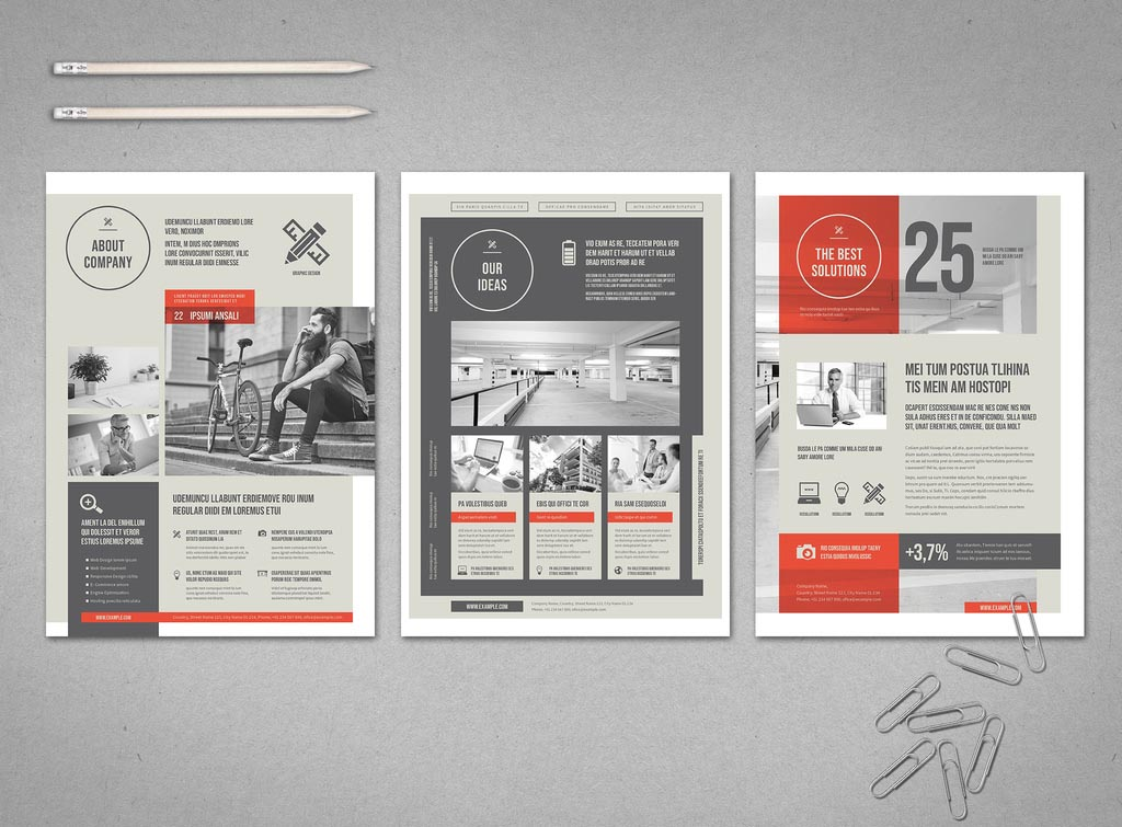 Grey White & Red InDesign Business Flyer Templates