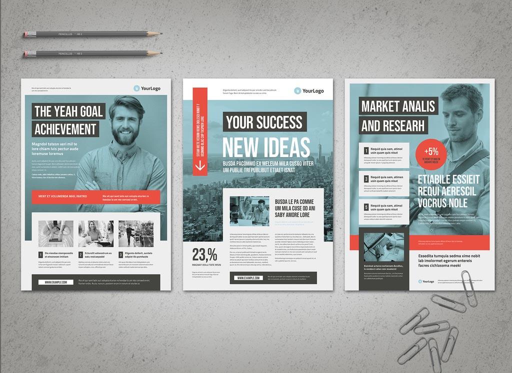 Blue Business Flyer / Newsletter INDD for InDesign