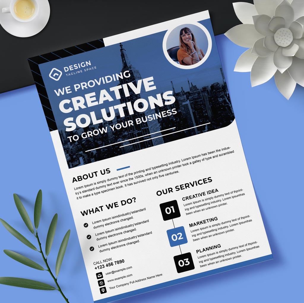 Blue Real Estate Flyer Layout for InDesign