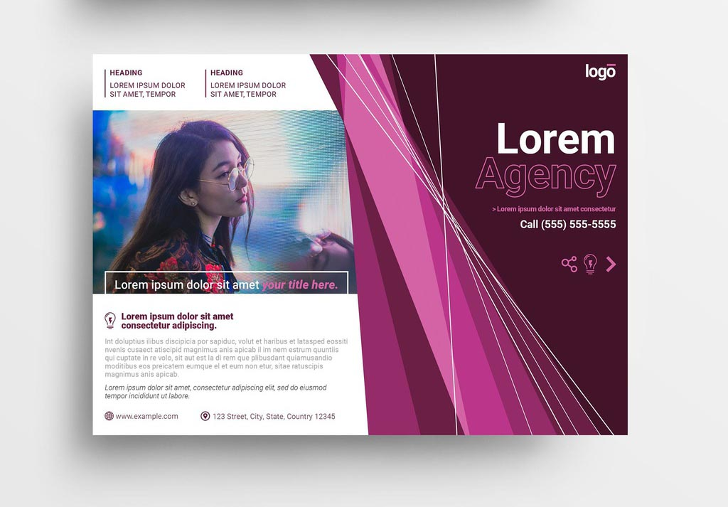 Creative InDesign Flyer Template with Pink Accents