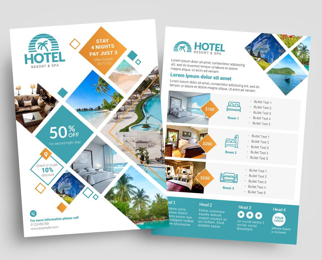 Hotel Flyer Template in INDD InDesign Format