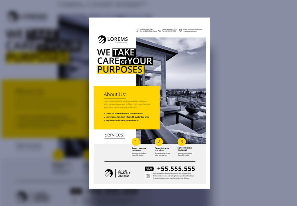 INDD Flyer Layout with Yellow Accent