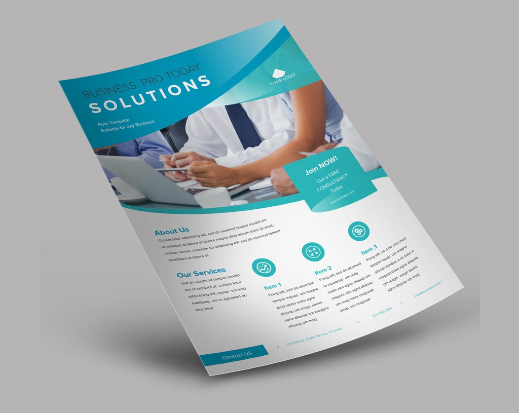 InDesign Business flyer Template with Gradients