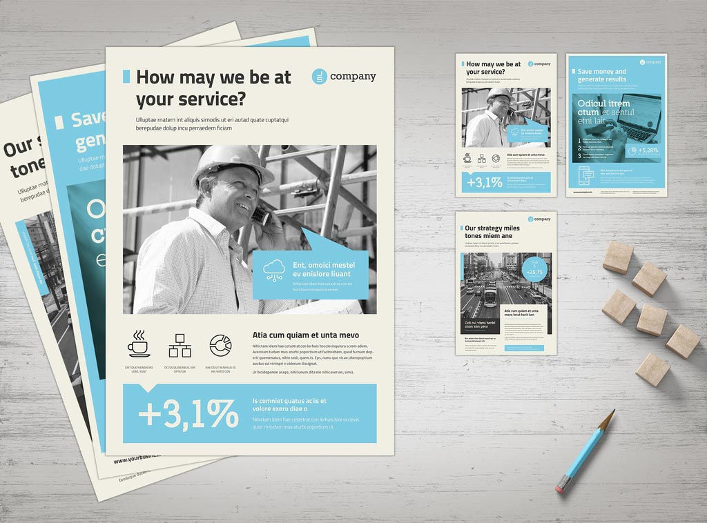InDesign INDD Business Flyer Template with Blue Accents