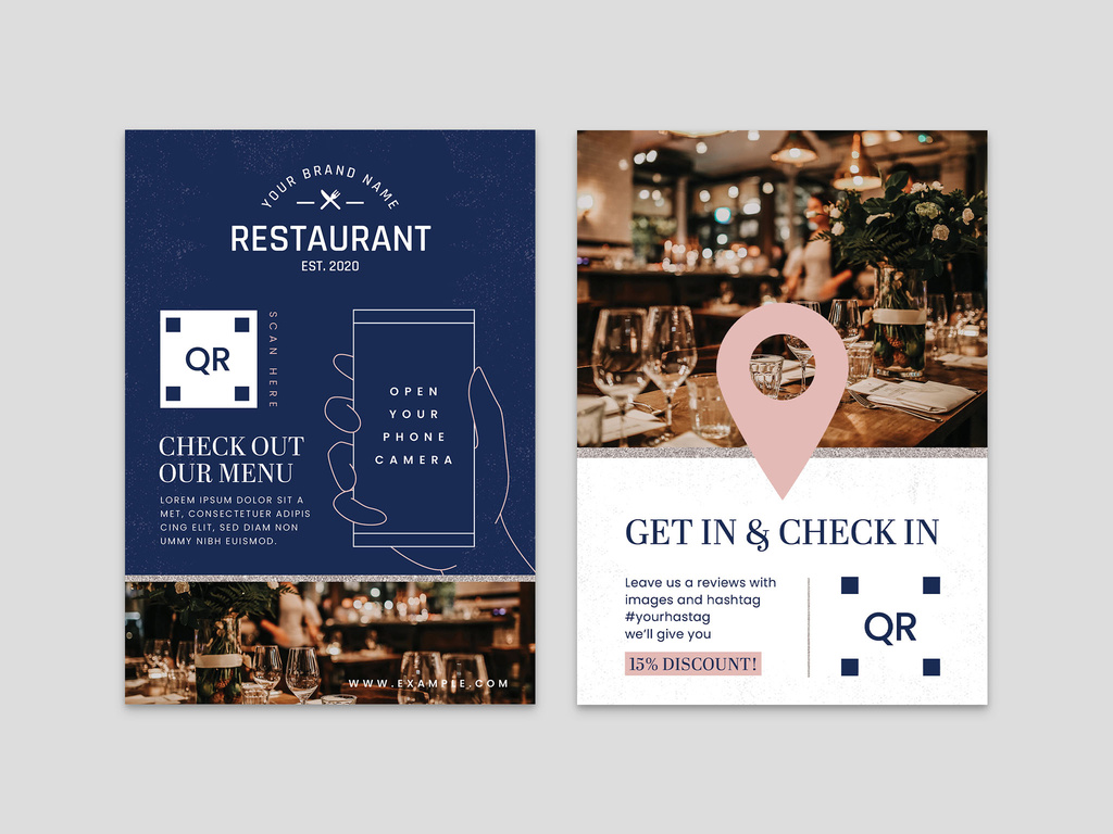 InDesign Restaurant Flyer Template with QR Code