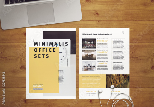 Minimal InDesign Flyer Template with Yellow Accents