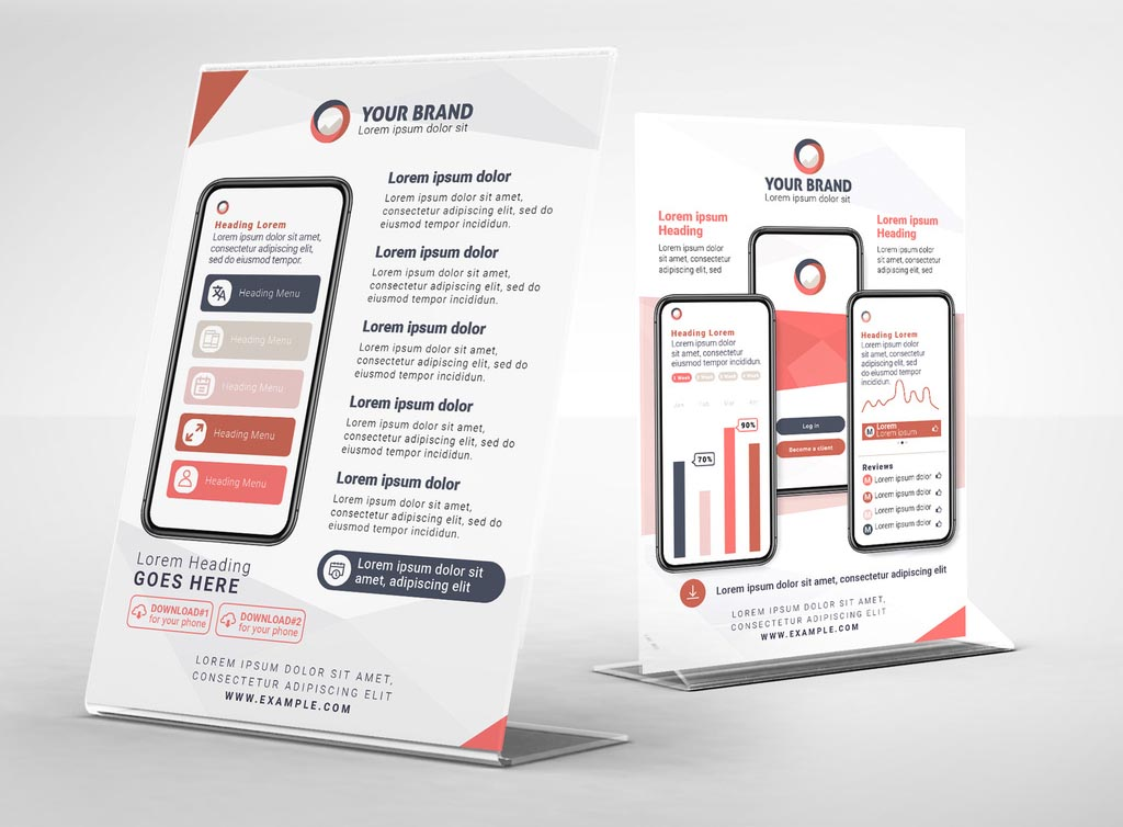 Mobile App Flyer Template INDD InDesign