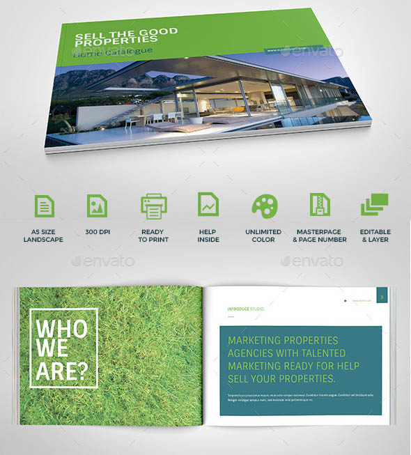 Modern Property Catalog Template for InDesign