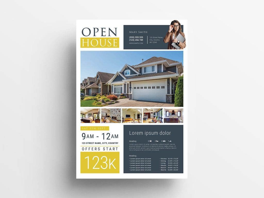 Open House Real Estate Flyer Template for Adobe InDesign
