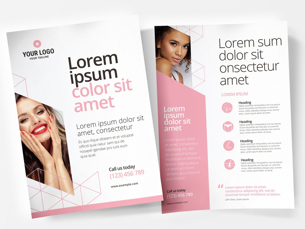 Pink Cosmetic Service Flyer Template INDD