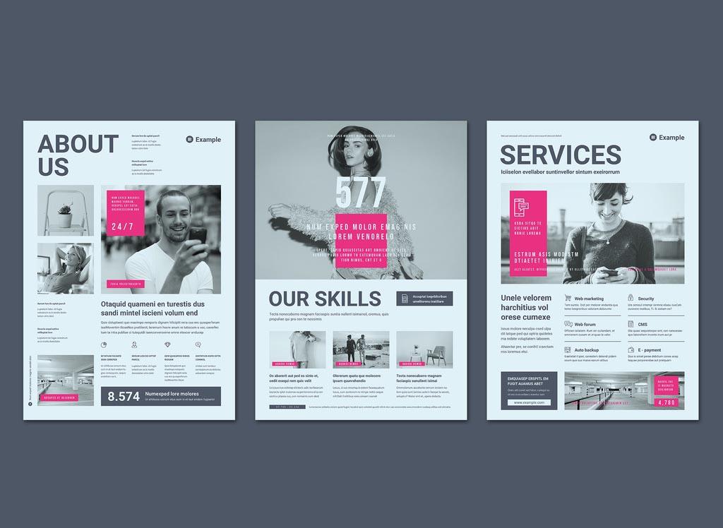 Pink & Grey InDesign Flyer Template