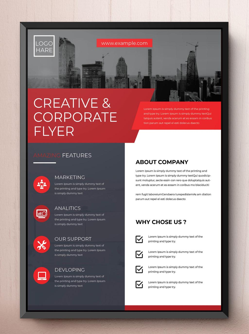 Red Corporate Business InDesign Flyer Template INDD