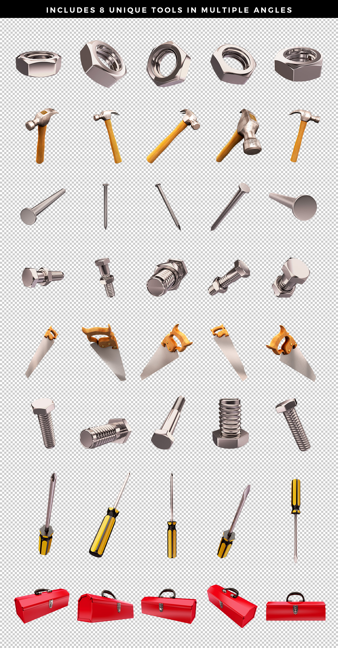 Transparent PNG Tool Renders