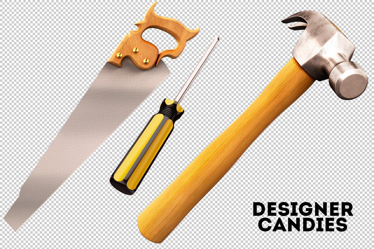 Transparent Hammer, Saw & Screwdriver