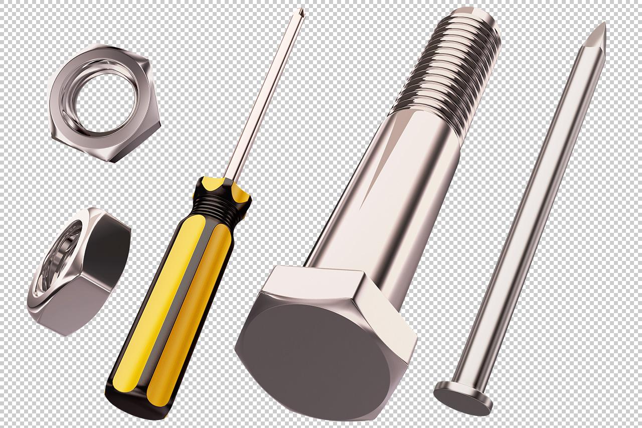 Transparent Nuts, Bolts, Screws & Nails