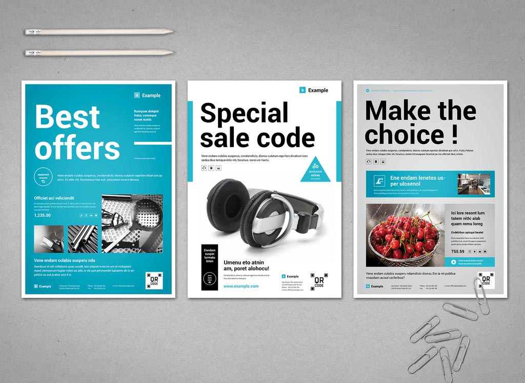 White & Blue Business Flyer Template (INDD, InDesign)