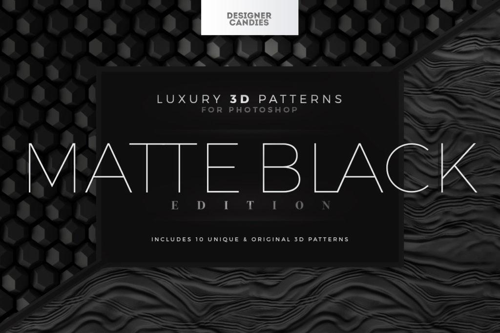 Matte Black 3D Patterns for Photoshop
