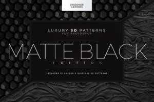 Matte Black 3D Patterns for Photoshop