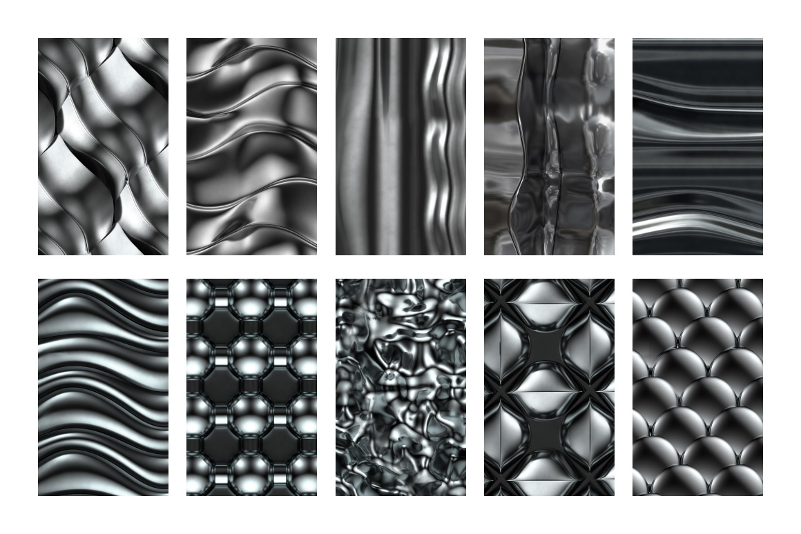 3D Chrome Patterns / Chrome Textures for Photoshop