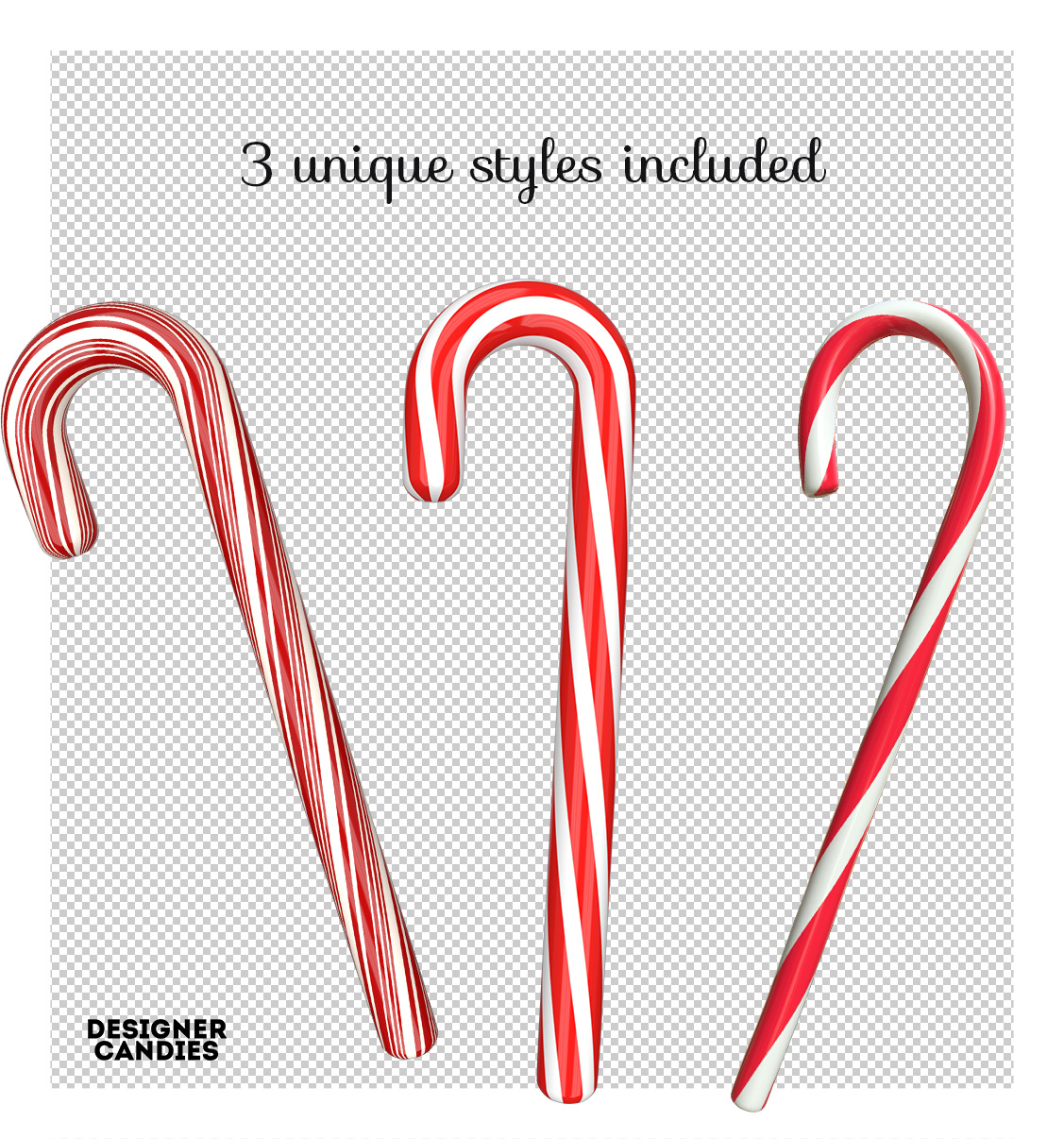 Candy Cane Renders in PNG Format