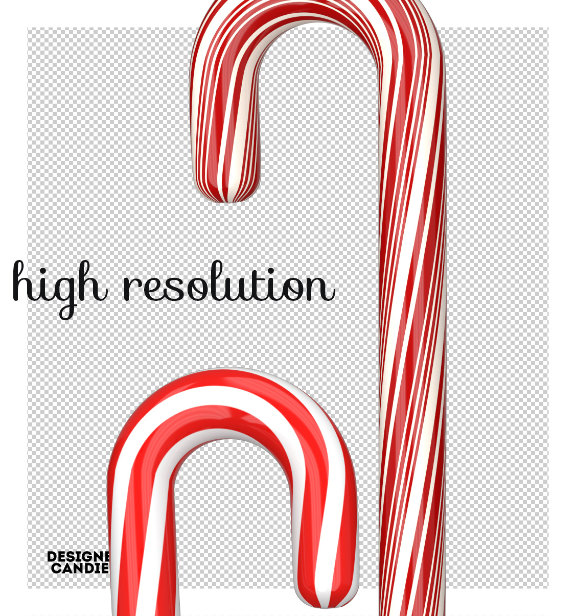 High Resolution Candy Cane Renders