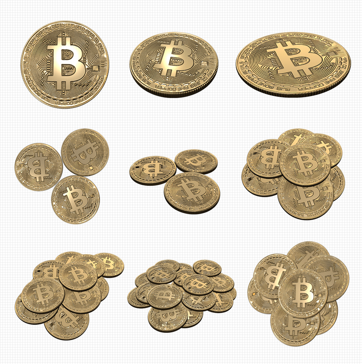 Transparent Bitcoin PNG Renders