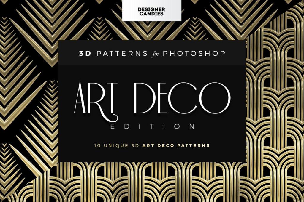 3D Art Deco Patterns for Photoshop