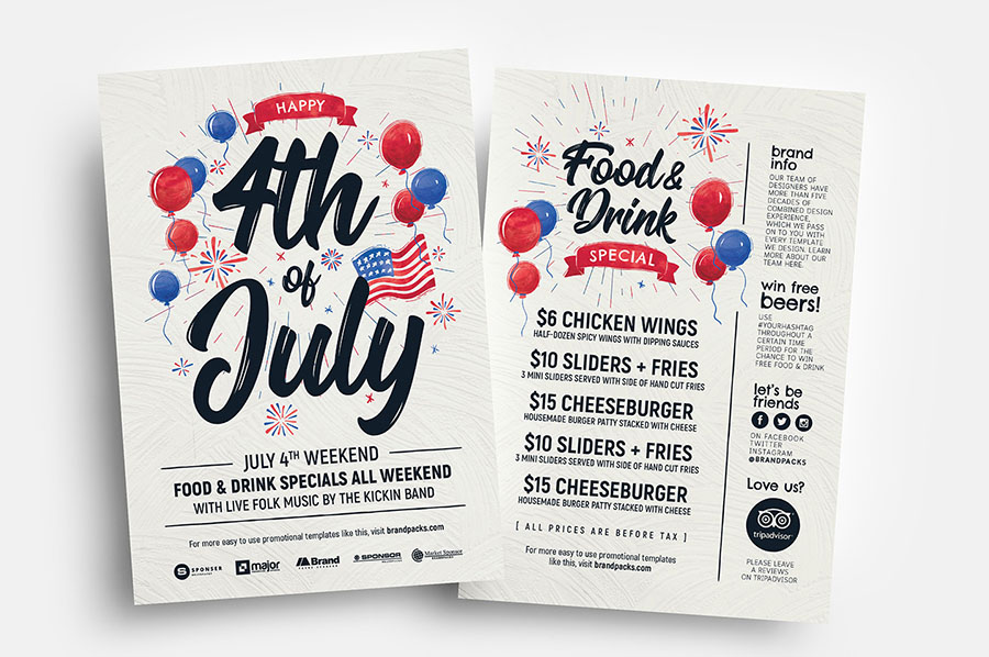 4th of July Flyer Templates in PSD & Vector