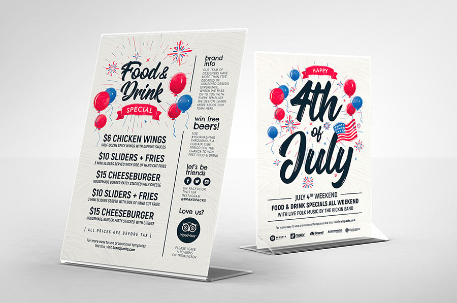 4th of July Table Tent Templates in PSD & Vector