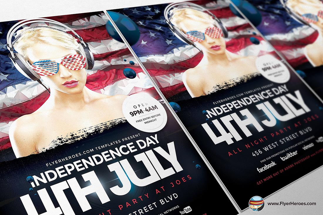 Geometric 4th July Flyer Template