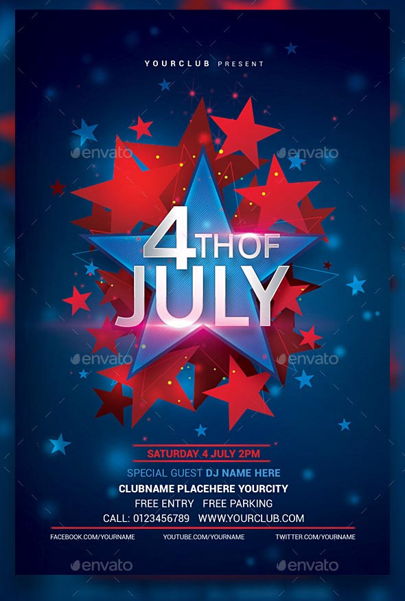 Modern 4th of July Party Flyer Template