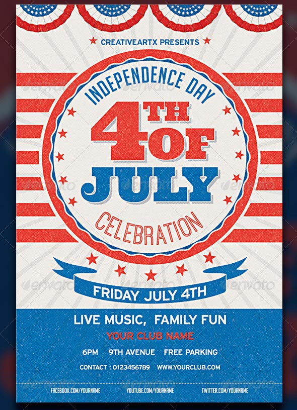 Vintage 4th of July Flyer Template