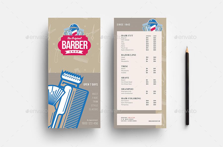 Barber Shop DL Card Template