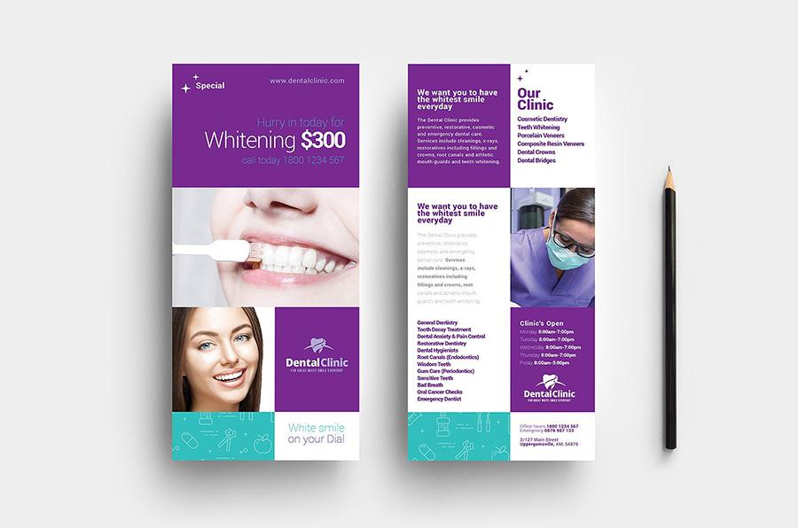 Dental Clinic DL Rack Card Template