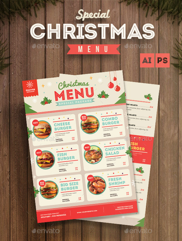 Fun Christmas Menu Flyer Template