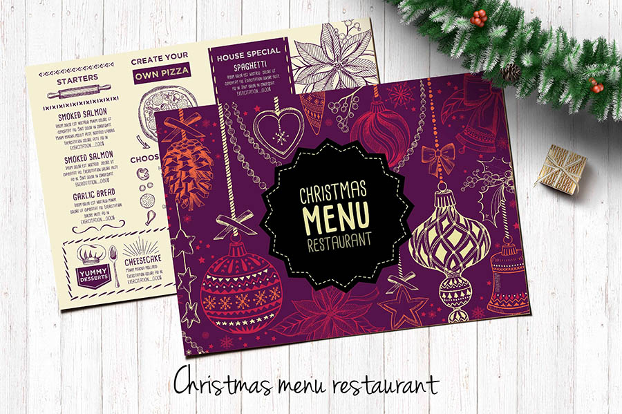 Landscape Christmas Menu Template