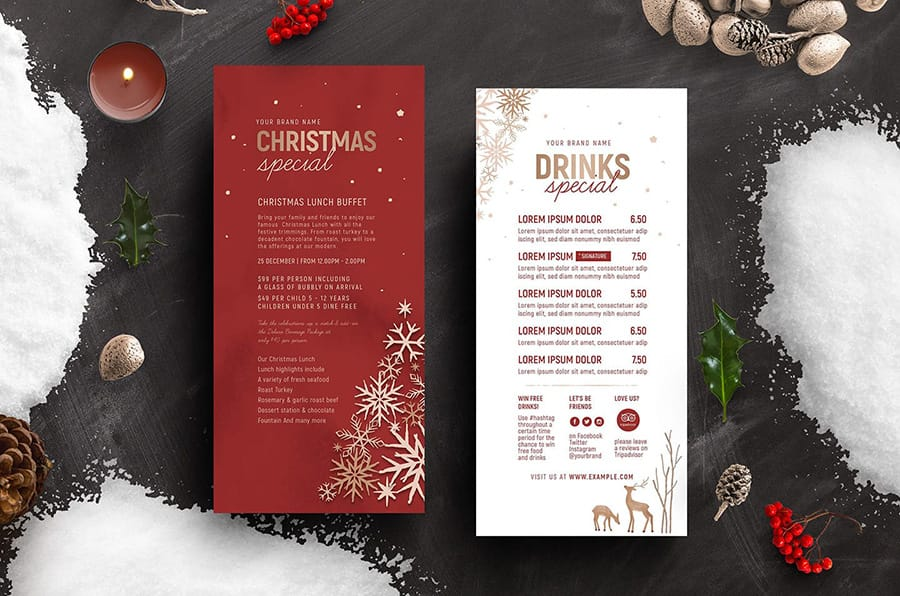 Ornate Christmas DL Menu Template